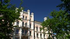 Art Nouveau apartment buildings in Albert Street in Riga Stock Footage