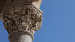 Ornate stone pillar with flowers in Sintra Stock Footage