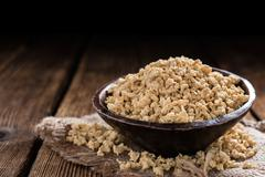 Portion of Soy Meat (on wood) Stock Photos