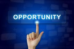 hand press on opportunity button on touch screen - stock photo