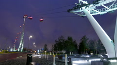 Time lapse of Emirates Airline cable railway London by night - stock footage