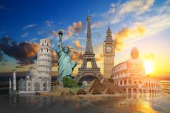 Monuments of the world - stock illustration