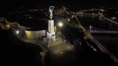 AERIAL Budapest, Hungary, Europe, The Liberty Statue or Freedom Statue Stock Footage