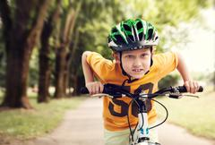 Speed little cyclist - stock photo