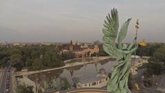 AERIAL Budapest, Hungary,  Europe, Heroes' Square Stock Footage