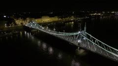 AERIAL night Budapest, Hungary,  Europe, Stock Footage