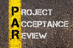 Concept image of Business Acronym PAR as Project Acceptance Review  - stock photo