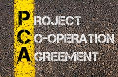 Concept image of Business Acronym PCA as Project Co-Operation Agreement - stock photo