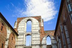 Only the walls and the sky, Siena. Stock Photos