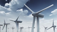 3d animation of wind turbines on sky background Stock Footage