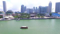 Aerial Drone Shot: Singapore Marina Bay Esplanade Stock Footage