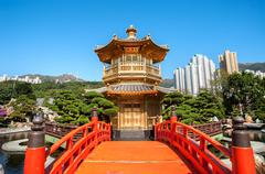 Golden Pagoda in Nan Lian Garden, Diamond Hill, Hong Kong Stock Photos