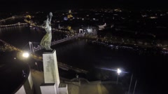 AERIAL Budapest, Hungary, Europe, The Liberty Statue or Freedom Statue Europe Stock Footage