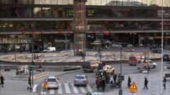 Traffic by Sergels Torg, Stockholm, Sweden. Stock Footage
