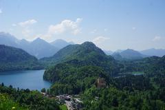 The view from Neuschwanstein castle - stock photo