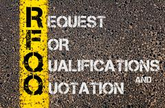 Business Acronym RFQO as Request For Qualifications and Quotation - stock photo