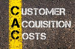 Concept image of Business Acronym CAC as Customer Acquisition Costs  - stock photo