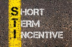 Concept image of Business Acronym STI as Short Term Incentive  Stock Photos