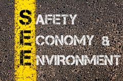 Concept image of Business Acronym SEE as Safety Economy and Environment  - stock photo