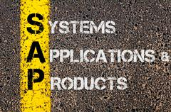 Concept image of Business Acronym SAP as Systems Applications Products  Stock Photos