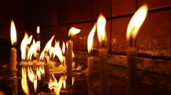 Candles burning in St. Anthony of Padua Church, Beyoglu, Istanbul - stock footage