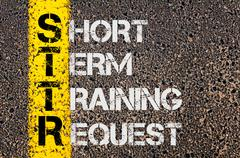 Concept image of Business Acronym STTR as Short Term Training Request - stock photo