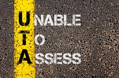 Concept image of Business Acronym UTA as Unable To Assess - stock photo