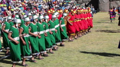 Peru Inti Raymi 2015 Inca Soldiers Stepping In Place Stock Footage