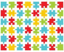 colorful shiny puzzle - stock illustration
