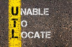 Concept image of Business Acronym UTL as Unable To Locate  - stock photo
