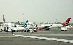 Aircraft on the apron at JFK International airport New York USA - stock photo