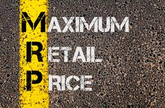 Concept image of Business Acronym MRP as Maximum Retail Price - stock photo