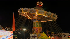 Illuminated Carousel In Motion Stock Footage