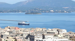 Ferry Kerkyra Corfu island Greece Stock Footage