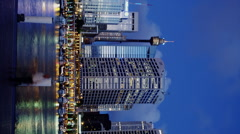 Sydney Tower and CBD facing Darling Harbour early Evening Stock Footage