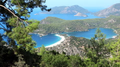 Panorama of coast and beach oludeniz landscape mediterranean sea turkey Stock Footage