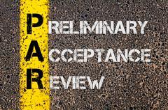 Business Acronym PAR as Preliminary Acceptance Review Stock Photos