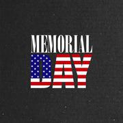 Memorial Day label on the blackboard background Stock Illustration