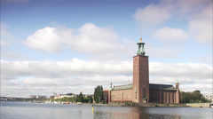 View of the City hall in Stockholm, Sweden. Stock Footage