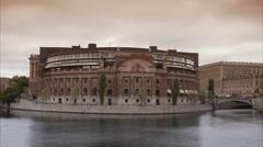 The Riksdag building Stockholm, Sweden. Stock Footage