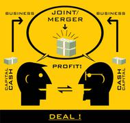 Business partners, profit, scheme. - stock illustration