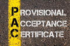 Business Acronym PAC as Provisional Acceptance Certificate - stock photo