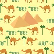 Egypt. Seamless pattern Characters of Egypt: pyramids and camels. Palm and sn - stock illustration