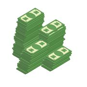 Bunch of cash. Piles of dollars. Wealth. Vector illustration. - stock illustration