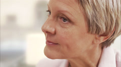 A middle aged woman nodding her head, Sweden. Stock Footage