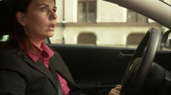 A woman driving a car, Sweden. Stock Footage