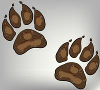 paw print on dogs - stock illustration