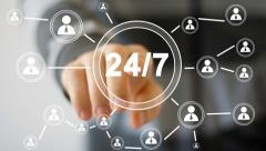 Business button web 24 hours service icon - stock footage