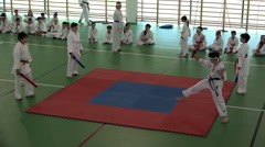 Karate Kids - Teenagers fighting for a top belt 3/4 Stock Footage