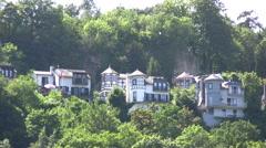 Traditional houses with turrets in St Goar in Germany - stock footage